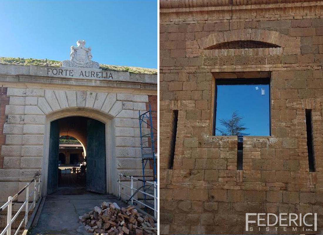 Museo Forte Aurelia, Roma. Infissi realizzati da Federici Sistemi