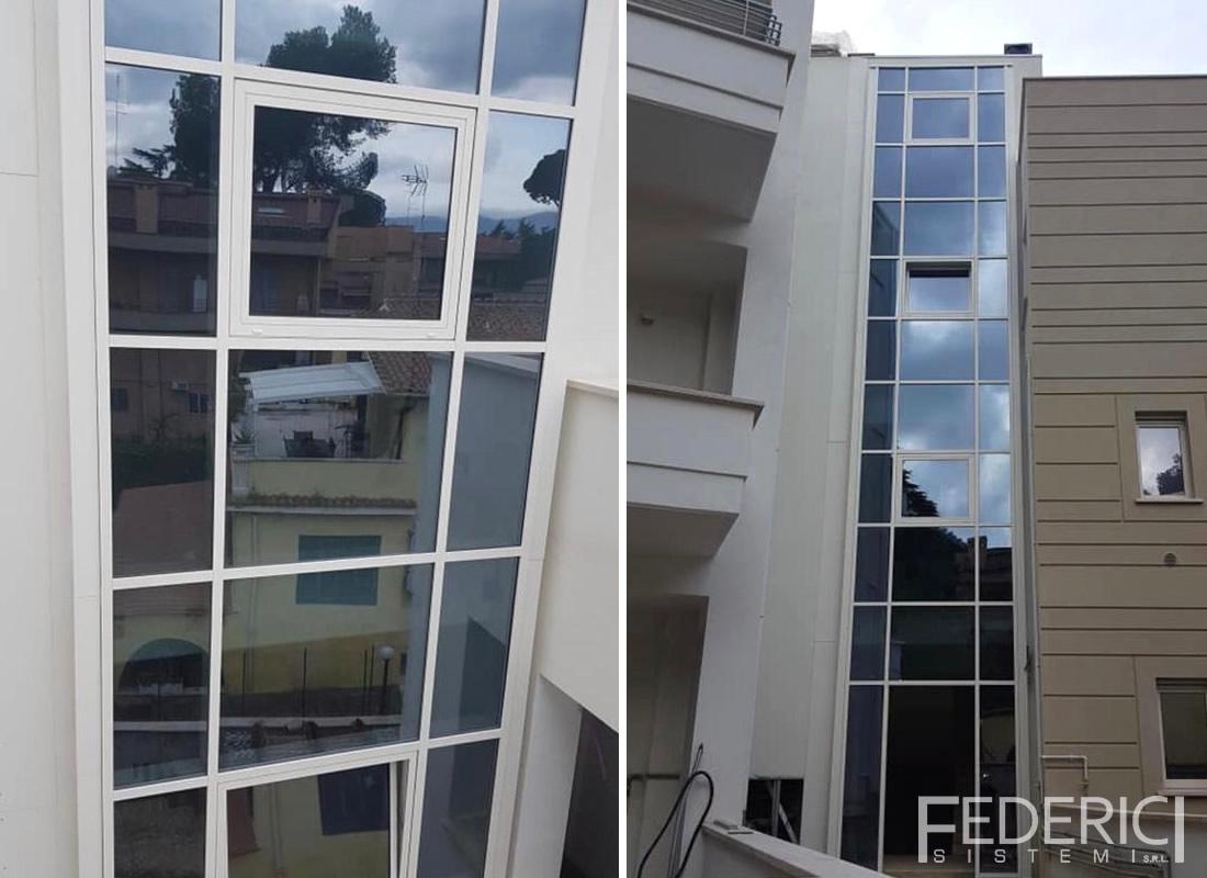 Cantiere a Roma. Facciata continua in alluminio (Schuco FW50) realizzata da Federici Sistemi.